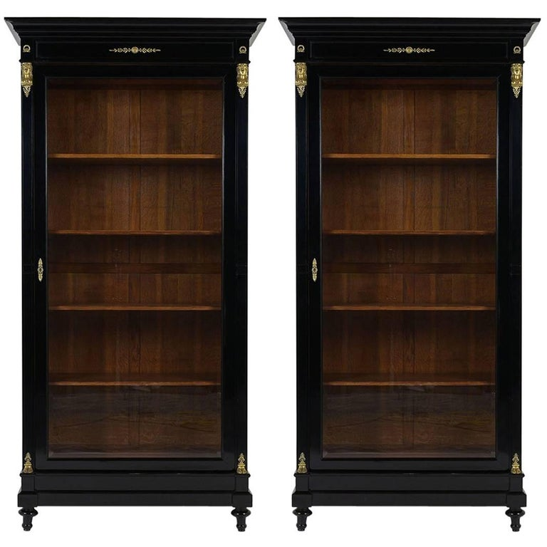 Pair of Antique French Empire-Style Ebonized Bookcases