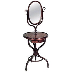 Austrian Bentwood Shaving Mirror with Round Inlaid Shelf