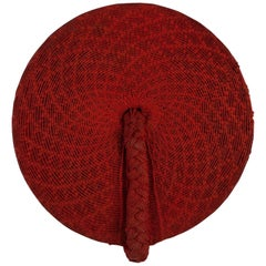 Tribal Mid-20th Century Zulu Women's Red Cotton Hat, Isicholo, South Africa