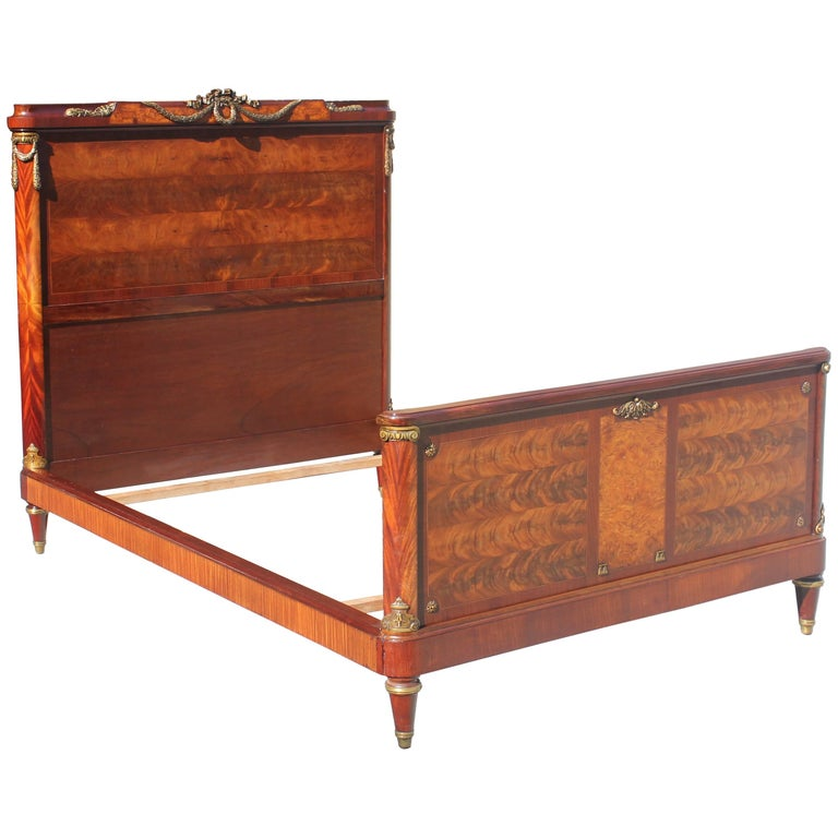 French Louis XVI Flame Mahogany with Bronze Hardware ''Full'' Beds, circa 1890s