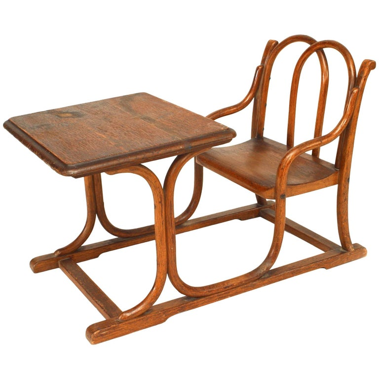 Austrian Bentwood Small Child's Desk with Attached Chair