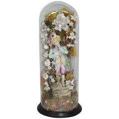 Victorian Bisque Figure Under Glass Dome