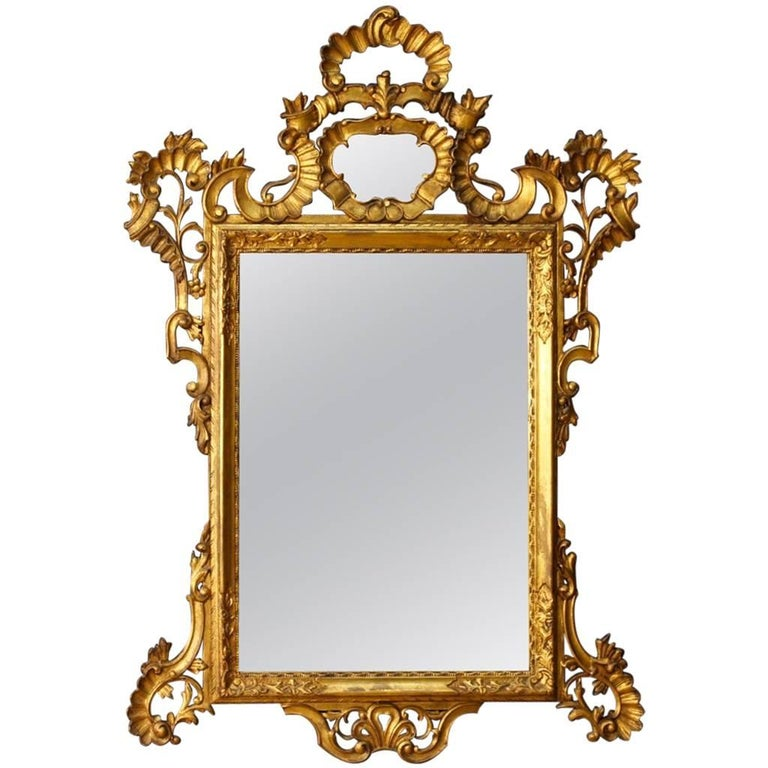 Venetian Mirror in Gilded and Carved Wood from 20th Century