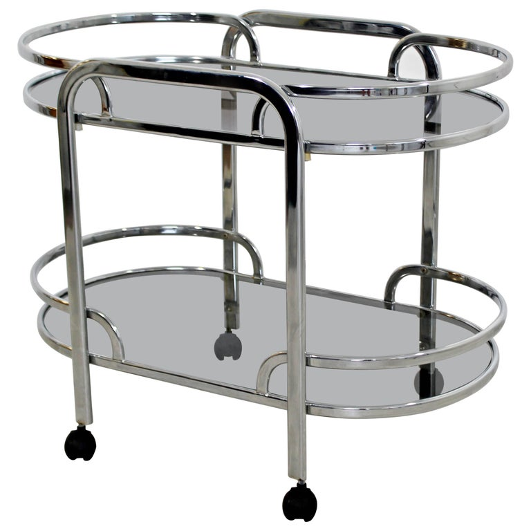 Mid-Century Modern Baughman for DIA Chrome & Smoked Glass Bar Serving Cart 1970s