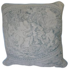 Faded Blue Toile de Jouy Linen Pillow Antique French