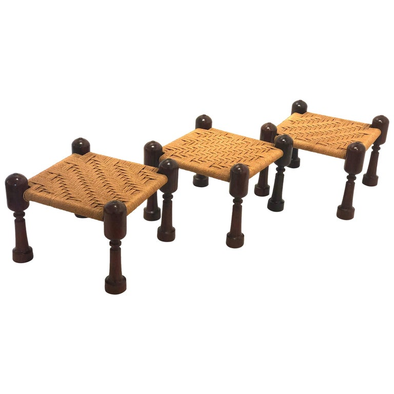 Mexican Mid-Century Modern Set of Three Cocobolo and Rope Seats Low Stools