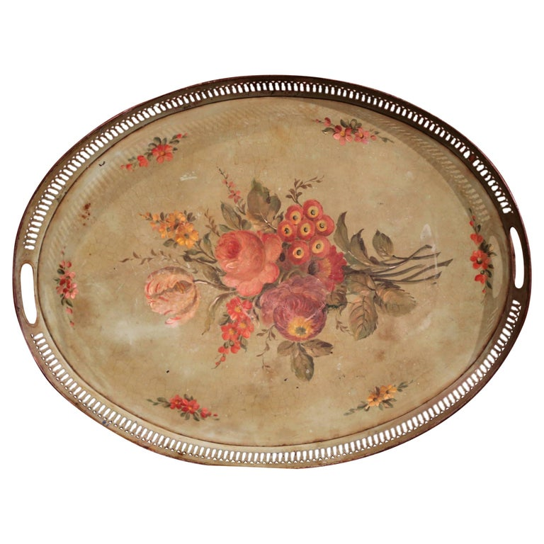 19th Century French Hand-Painted Oval Gallery Tole Tray with Flowers and Foliage