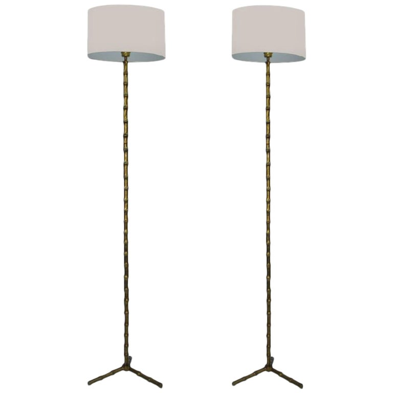 Pair of Maison Baguès Bronze Floor Lamp