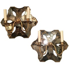 Pair of French Mirrored Sconces