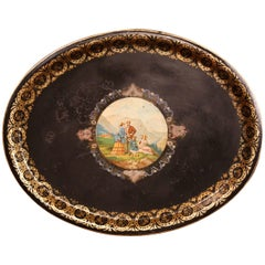 19th Century French Napoleon III Hand-Painted Oval Tole Tray with Family Scene