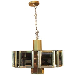 Mid-Century Modern Brass and Smoked Glass Fredrick Ramond Pendant Chandelier