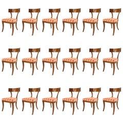 "Set of 18 Biedermeier Style ""Klismo"" Cherry Wood Round Back Side Chairs"