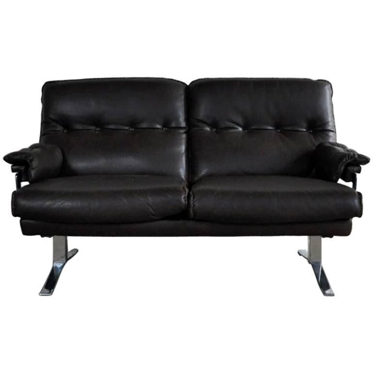 Dark Brown Leather and Chrome Two-Seat Sofa by Arne Norell