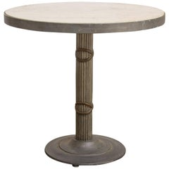 Modern Iron and Travertine Limestone Centre or Pub Table