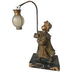 Stylish Art Nouveau Gilt Bronze Girl with Lantern Table or Desk Lamp