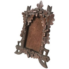 Antique Black Forest Hand-Carved Wooden Miniature Table Picture Frame or Easel