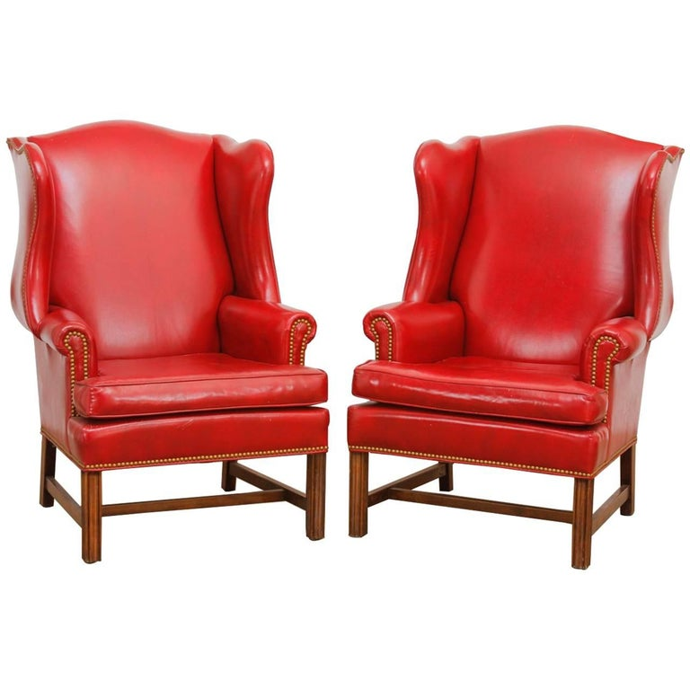Pair Of Georgian Style Red Leather Wingback Library Chairs For