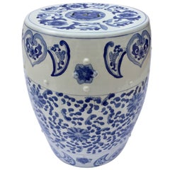 Chinese Porcelain Garden Seat in Blue and White Floral Motif