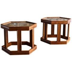Pair of Hexagonal Side Tables by John Keal for Brown Saltman