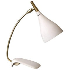 Louis Kalff Midcentury Table Lamp with Beige Shrink Paint and Brass Neck