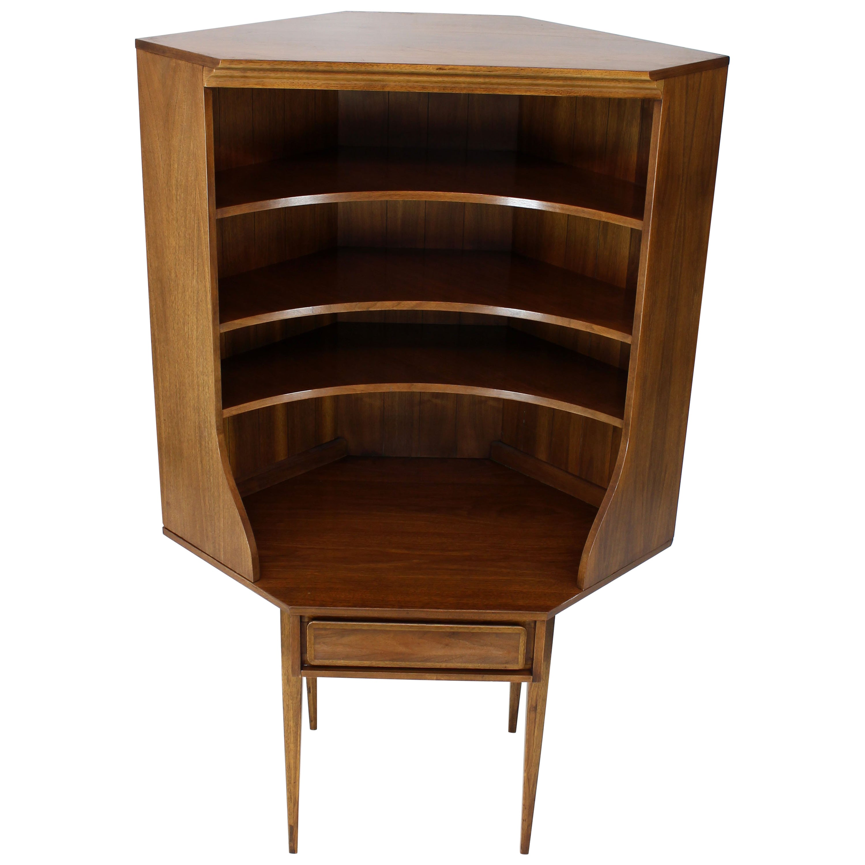 Two-Piece Walnut Corner Desk Table Bookcase Hutch