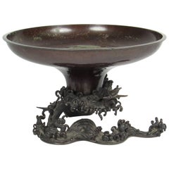 Antique 19th Century Japanese Meiji Bronze Ikebana Vessel