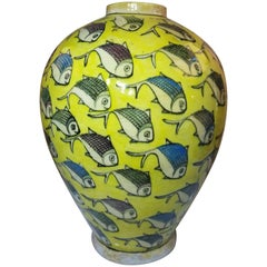 Vintage Yellow Persian Ceramic Fish Vase