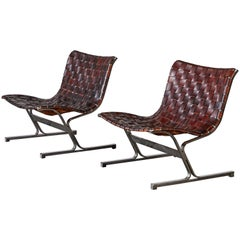 Patinated Leather Lounge Chairs by Ross Littell