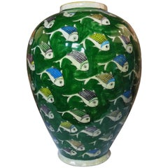 Green Persian Ceramic Fish Vase
