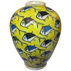 Vintage Yellow Persian Ceramic Fish Vase 'Medium'