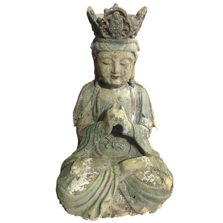 Hand-Carved Wood and Polychrome Seated Buddha