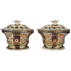 "Pair of Worcester Porcelain Bough Pots in the ""Rich Queen's"" Pattern"