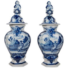 Pair of Blue and White Delft Mantle Vases