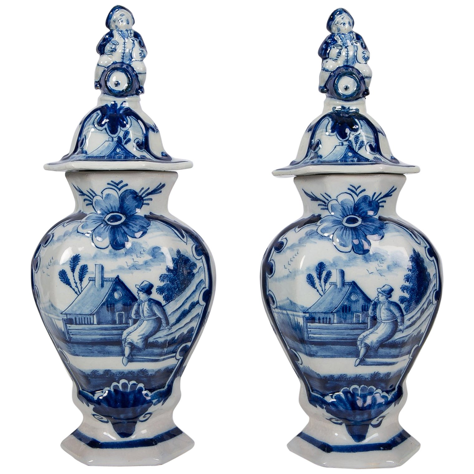 Pair of Blue and White Delft Mantle Vases Made by De Klaauw circa 1780