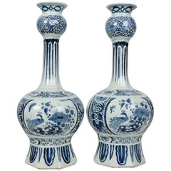 Antique Blue and White Delft Vases Gourd Shaped