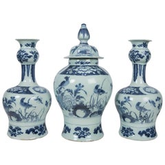Antique Blue and White Delft Garniture of Three Vases