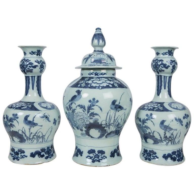 Antique Blue and White Delft Garniture of Three Vases