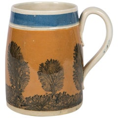 "Antique Mochaware Mug Decorated with ""Trees"""