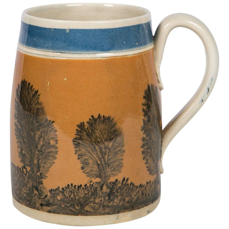 """Antique Mochaware Mug Decorated with """"Trees"""""""