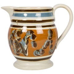 Mochaware Pitcher Decorated with a Cable Pattern