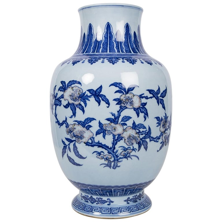 Pair Of Large Blue And White Chinese Porcelain Vases With Dragons At