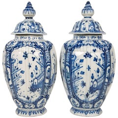 Pair of Delft Jars Blue and White, 18th Century