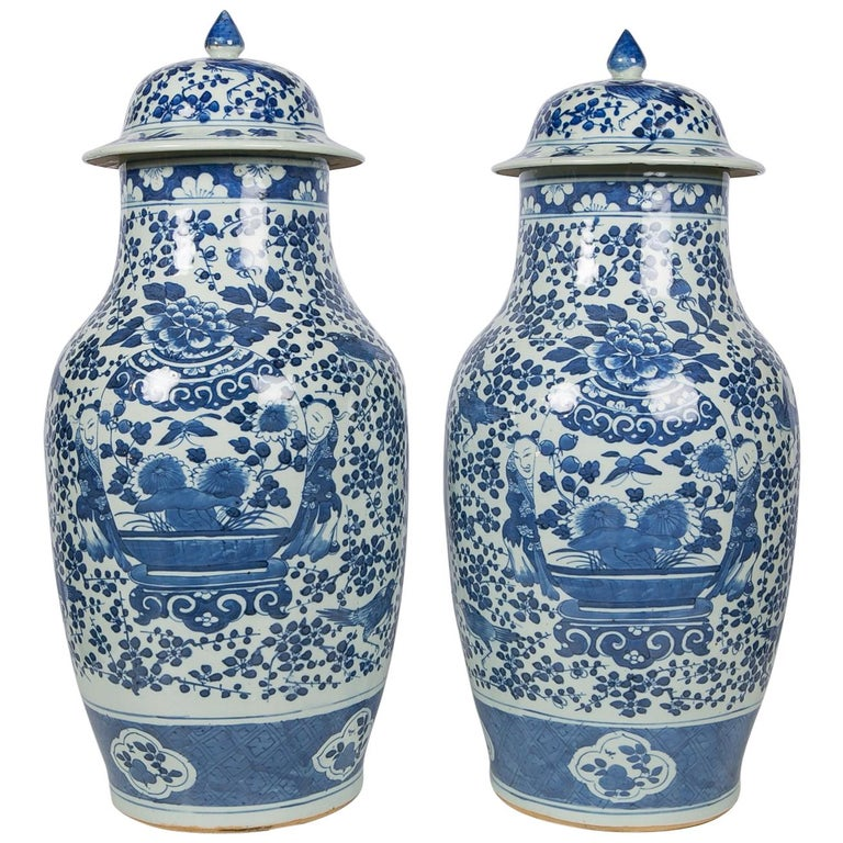 Antique Chinese Blue and White Covered Jars with Boys For Sale