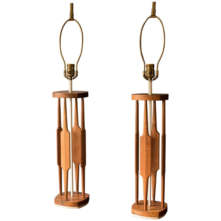 Pair of Mid Century Sculptural Table Lamps by Tony Paul