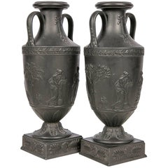 Wedgwood Black Basalt Mantle Vases, Pair