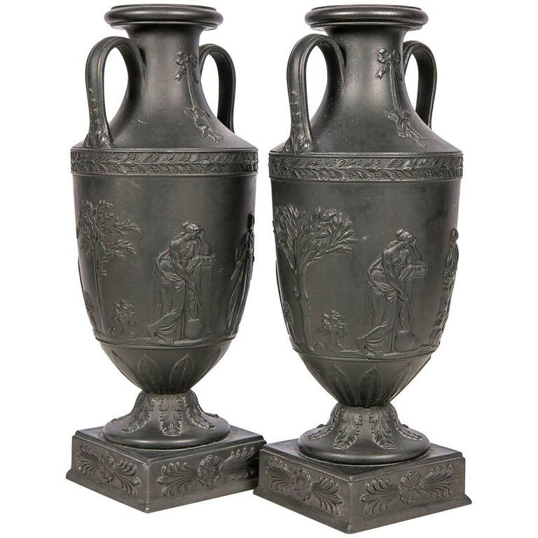 Pair Of Wedgwood Black Basalt Urns At 1stdibs