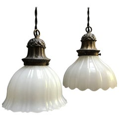 Early 20th Century Scalloped Milk Glass Pendant Lights