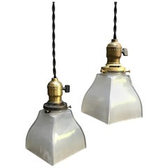 Pair of Industrial Frosted Glass and Brass Pendant Lights