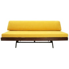 Italian Yellow Velvet Sofa Bed, 1960s