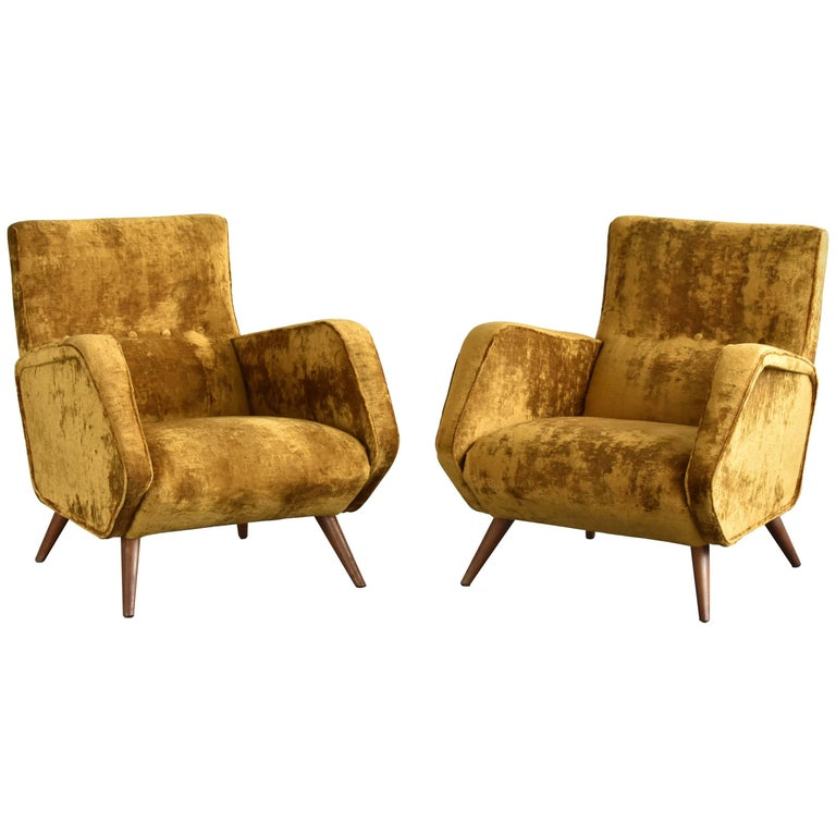 Osvaldo Borsani Lounge Chairs, Yellow or Orange Velvet, Tecno, Italy, 1950